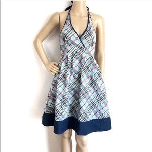 Anthropologie Maeve Pinup Style Blue Plaid Dress